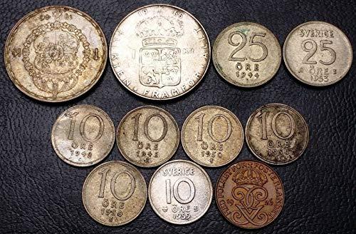Lot of 11x Sweden Coins (10 Silver) - Date Range 1926-1966 - 1-25 Ore, 1 Krona