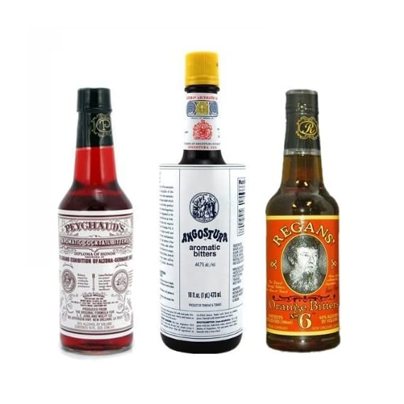 """Bitters XL """"Triple Play"""" Variety 3-Pack: Angostura, Peychauds and Regans 1 Great Variety Pack """"Must Have"""" for any cocktail geek Angostura (16 oz)"""