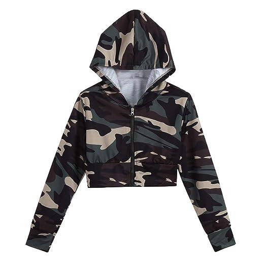 7af8e9ce7f7c04 Women Teen Girls Camouflage Zip up Long Sleeve Workout Cropped Crop Top Hoodie  Sweatshirt Jacket Casual
