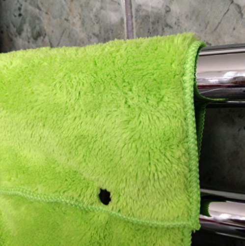 Hanging Hand Towels with Snap Fastener - Set of 3 Lime Green, Hanging Kitchen Hand Towels, Hanging Bathroom Hand Towels, Soft, Quick Drying, Microfiber Fluffy Fingertip Towels by Taylors of Kent (Image #3)
