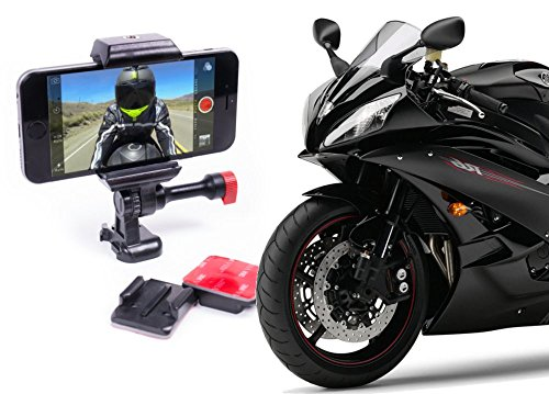 Motorcycle Mount (Helmet & Motorcycle Adhesive Cell Phone Mount Holder Made for Action POV Videos & GPS)