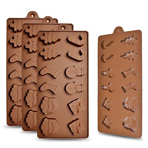 homEdge 12-Cavity Christmas Chocolate Mold, Set of 4PCS Food Grade Non Stick Silicone Mold with Santa Head, Christmas Tree, Socks and Gifts