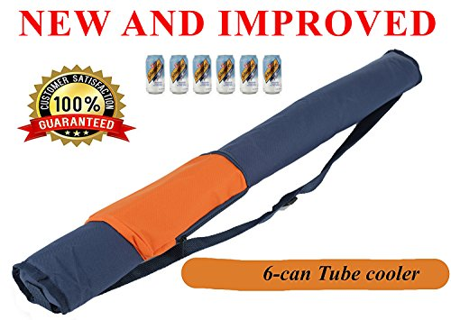 MnM-Home Easy Carry Insulated 6 Can Tube / Sleeve Cooler, with Shoulder Strap. Orange