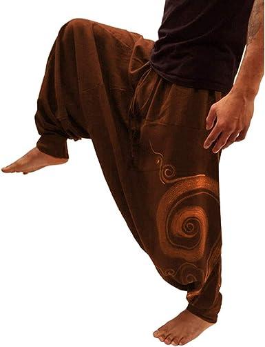 Men S Print Ethnic Style Training Yoga Pants Loose Overalls Casual Pocket Sport Yoga Work Trousers Beautyfine At Amazon Men S Clothing Store