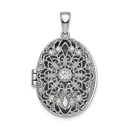 925 Sterling Silver Cubic Zirconia Cz Oval Filigree Photo Pendant Charm Locket Chain Necklace That Holds Pictures Fine Jewelry For Women Gift Set - Open Filigree Designer Pendant Charm