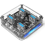 ORICO USB Hub-4-Port USB 3.0 Hub for USB Expansion - Mini Portable Hub for MacBook, Chromebook, Notebook PCs, iPhone, Smartphones - Clear