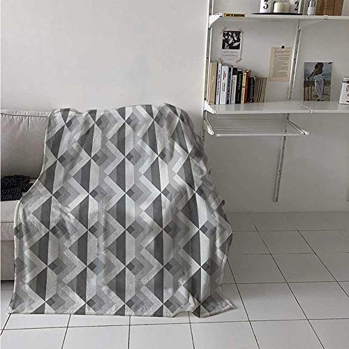 maisi Grey Digital Printing Blanket Triangles with Parallel Lines in Dark and Retro Minimalist Pattern Work of Art Print Summer Quilt Comforter 62x60 Inch Ash Shadow