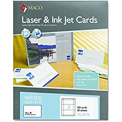 MACO Laser/Ink Jet White Index Cards, 3 x 5 Inches, 3 Per Sheet, 150 Per Box (ML-8576)