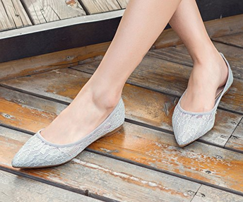 Flats Wedding Grey On Slip Shoes Lace for Women's CHICKLE 5 7 pqZFP