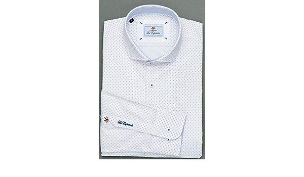 La Española Camisa de Vestir Blanca con Estampado: Amazon.es ...