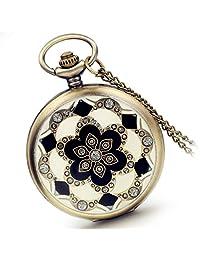Lancardo Fashion Cherry Flower Pattern Pocket Fob Watch Metal Case With Chain Rhinestone Diamonds