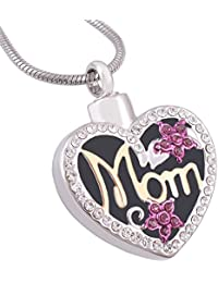 Mom in Heart Engravable Cremation Necklace Two Tone Ashes Urn Memorial Pendant Jewelry for Women