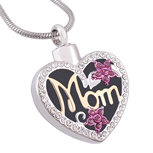Eternally Loved Mom in Heart Cremation Necklace Two Tone Ashes Urn Memorial Pendant Jewelry for Women (Non-engraving)