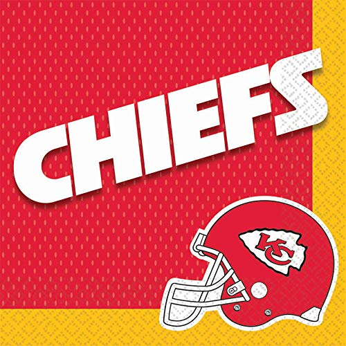 - Amscan Kansas City Chiefs NFL Football 13in Luncheon Napkins, Yellow Red, 16 CT