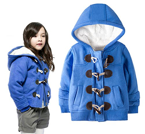 stylesilove Cute Girl's Hooded Toggle Warm Blue Coat (110/4-5 Years)