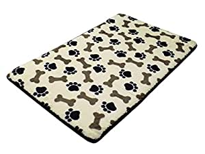 HIGH DENSITY TIRED JOINTS WARM MEMORY FOAM BLACK PET DOG MAT PAWS BONES SUPERSOFT 50 X 80CM