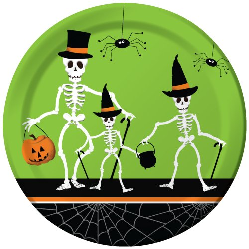 Creative Converting 421164 8 Count Paper Dinner Plates, Dancing Skeletons, Green/Black]()