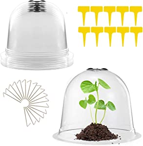 Garden Cloche Dome, 6 Pack Garden Cloche Plant Dome Bell Covers, Mini Greenhouse with 18 Ground Securing Pegs & 10 Plant Label Outdoor Indoor - Humidity Dome for Seed Starter Pots (10