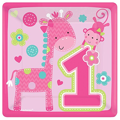 [Amscan One Wild Girl 1st Birthday Square Plates, 7