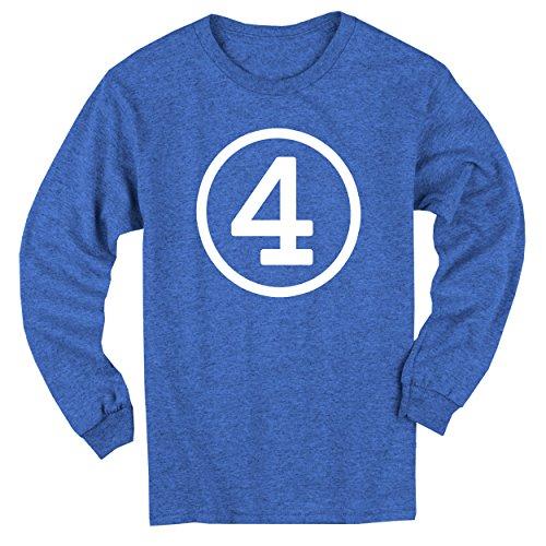 [Happy Family Clothing Big Boys' Fourth Birthday Blue Heather Long Sleeve T-shirt (Youth XS (4/5), Blue Heather)] (Long Sleeve Birthday Shirt)