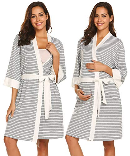 (Ekouaer Nurisng Maternity Robe Breastfeeding Dress Labor Nightshirt Sleepwear (Grey White Stripe, XX-Large))