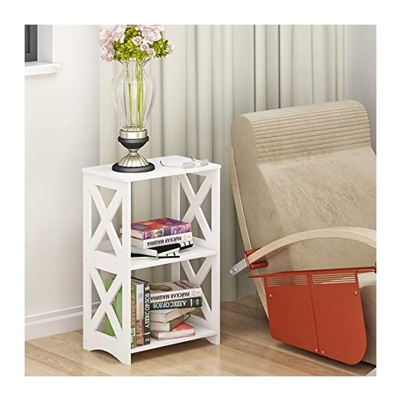 """Rerii End Table, 2 Tier Small Side Table, Simple Bedside Nightstand, Small Bookcase Bookshelf, Display Rack Shelf for Bathroom, Bedroom and Living Room, White - 【WOOD PLASTIC COMPOSITE】This little storage rack is made of of WPC(Wood Plastic Composite),which is a new eco-friendly material for furniture using,smooth surface can be easily cleaned with wet cloth; Suitable for any places,such as living room, bedroom, bathroom, office, kitchen, hallway etc 【ADORABLE & LIGHTWEIGHT】The bookshelf is SMALL (15""""L x 10.2""""W x 23.6""""H) and cute with color white as well as the X design on the sides,which goes well with any style of decoration; Such a little bookshelf is pretty lightweight and fairly easy to move around,great for someone who moves often 【VERSATILE & PRACTICAL】This little organizer shelf is multi-functional that you can use it many places in your house.As a decorative shelf for small plants, toys or knickknacks; As a little bookcase to store all your DVD movies and small books; As a bathroom shelf to store your makeup, hair or beauty items; As a kitchen storage rack for for organize some snacks and foods - shelves-cabinets, bathroom-fixtures-hardware, bathroom - 51EqYWCcdcL. SS570  -"""
