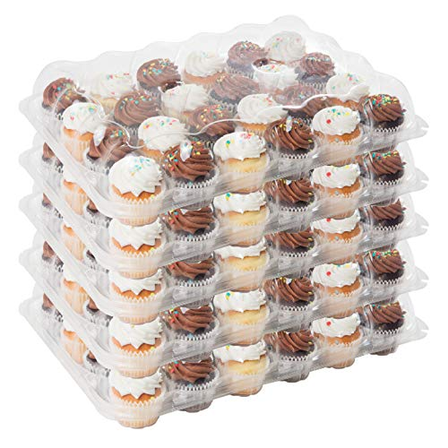 Houseables 24 Cupcake Containers, Plastic Compartment, Clear, 5 Pk, PET, Ultra-Sturdy Boxes, Full Size Cup Cake, Baking Transport, Individual Count, Disposable, Muffin Storage Tray, With 120 Liners ()