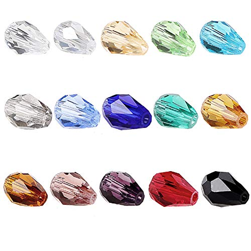 BRCbeads Glass Beads Crystal 150pcs Faceted #5500 Straight Hole Teardrop Shape 10x15mm Assorted Colors Include Plastic Jewelry Container Box Wholesale Mix lot Beads for jewelery Making