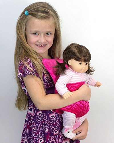 Doll Carrier for 15 Inch Baby or 18 Inch Dolls by Sophia's, Soft Hot Pink Front Carrier with Straps