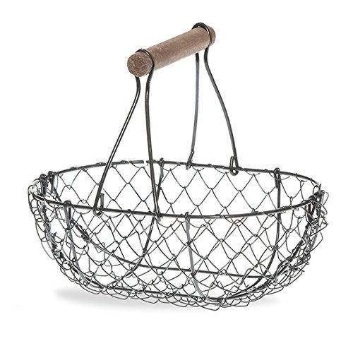 Wire Chicken Egg Basket, Wood Handle, Farm Style by EggBaskets (Black)