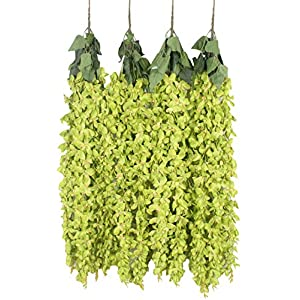 Duovlo 4 Pcs 3.12 Feet Artificial Wisteria Hanging Garland Flowers Silk Flower Bush for Wedding Party Home Garden Wall Restaurant Decoration(Green) 51