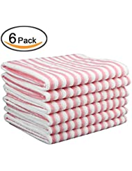 Kleanner Microfiber Striped Kitchen Dish Towel Tea Towel, Multi Purpose  Aborbent And Fast Dry Cleaning Towel, Size 15 X 19 Inch, Set Of 6 Packs (  Pink)