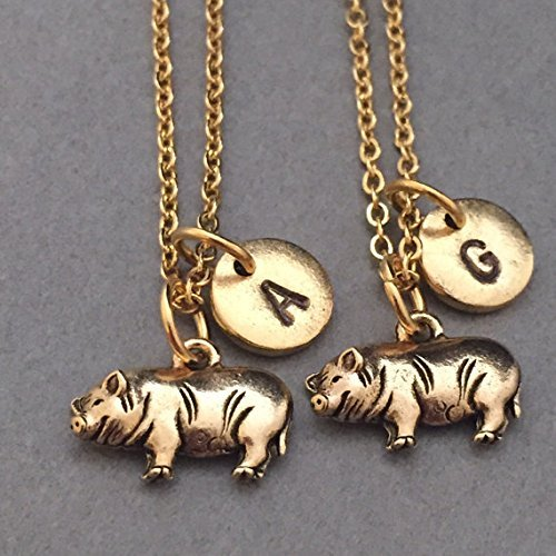 Best friend necklace, pot bellied pig necklace, animal necklace, bff necklace, sister, friendship jewelry, personalized, initial, monogram