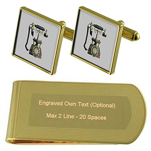 Clip Engraved Telephone Money Cufflinks Antique tone Set Gold Gift OWU7fnqx1w