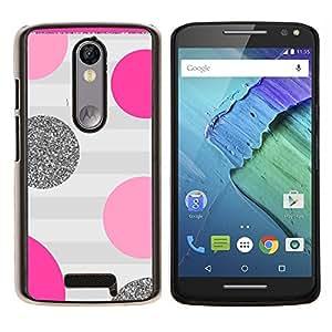 Dot Rosa Púrpura Gris Rayas del brillo- Metal de aluminio y de plástico duro Caja del teléfono - Negro - Motorola Droid Turbo 2 / Moto X Force