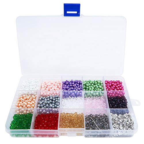 - TOAOB 2950Pcs 4mm Glass Beads Round Mixed Color Beads Rhinestones Spacer Beads and Crystal Faceted Glass Beads Set for DIY Jewelry Necklace Bracelet Crafting