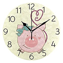 AGONA Cute Cartoon Pet Pink Pig Wall Clock, Art Creative Wall Clocks Battery Operated Non Ticking Silent Wall Clock Decorative for Living Room Kids Room Decor Kitchen