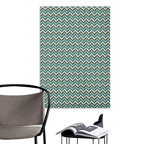 (Waterproof Art Wall Paper Poster Turquoise Wavy Lines with Abstract Chevron Pattern Herringbone Stripes Retro Zigzag Image Multicolor Removable Kitchen W20 x H28)