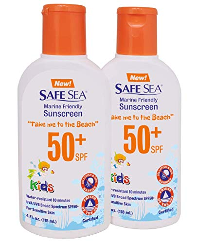Safe Sea SPF50+ Kids sunscreen – Jellyfish and Sea lice protective lotion. Very Water Resistant, Sensitive skin and Reef-Safe Sunscreen. Oxybenzone and Octinoxate free, Paraben free, 4 fl. Oz. Pack of