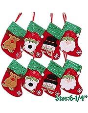 "(8 Pack) Mini Christmas Stocking,Xmas Stocking Christmas Tree Ornaments Decorations 6"" - Santa Snowman Reindeer Bear Character"
