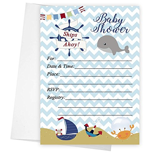Baby Boy Whale Nautical Baby Shower Invitations Set of 20 5x7]()