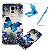 TPU Case for Samsung Galaxy S5,Clear Case for Samsung Galaxy S5,Herzzer Ultra Slim Stylish [Colorful Pattern] Soft Silicone Gel Bumper Cover Flexible Crystal Transparent Skin Protective Case