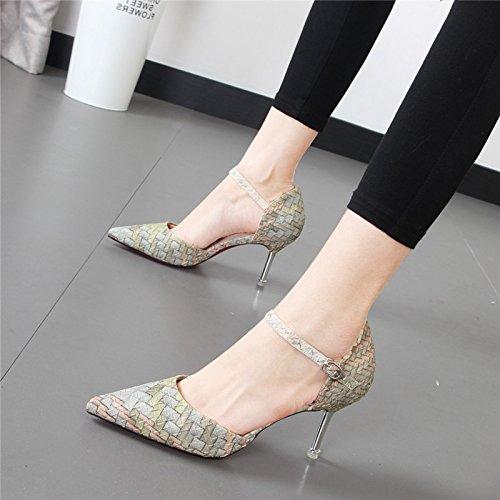 Xue Qiqi high-heel Schuhe Frauen stilvolle Pendler Tipp satin hellen Nähten Detail mit einzelne Schuhe Grau