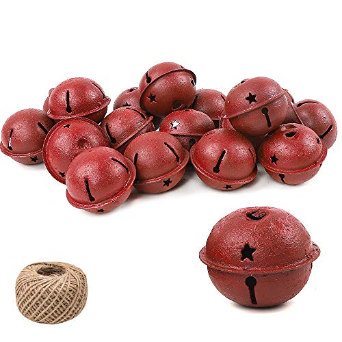 Holicolor 24Pcs 4cm Red Paint Rusty Metal Jingle Bells Star Cutout Rusted Jingle Bell with 98.5ft Jute Twine for DIY Craft, Holiday Decoration, Christmas Decoration (Rustic Bells Christmas)