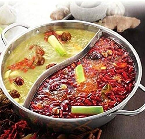 Pegcdu Double Face Yuanyang Hot Pot en Acier Inoxydable Pot Shabu Shabu Hot Pot Yin Yang Réchaud Batterie de Cuisine Vaisselle
