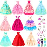 Toys : BARWA 10 Pcs Dresses with 17 Accessories Handmade Doll Clothes and Accessories Wedding Gowns Party Dresses for Barbi Dolls
