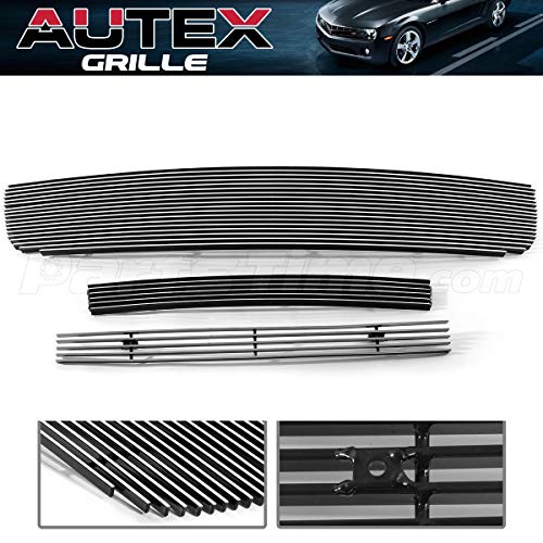 AUTEX Polished Billet Grille Grill Combo Insert G67796A Compatible with GMC Sierra 1500/1500 HD/2500 HD/3500 2003-2006,GMC Sierra 1500/2500 HD/3500 2007 Classic Model,GMC Sierra 2500 2003-2004