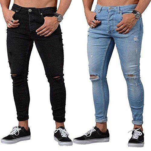 distribuidor mayorista 426ff 665be Yying Hombre Vaqueros Largo - Straight Fit Cremallera Casual Jeans Rotos  Moda Moda Talle Bajo Slim Fit Denim Pantalones