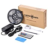 LUMINOSUM LED Strip Lights RGB Kit,multi color, 16.4ft 300LEDs SMD5050 Waterproof, with 44-key IR Controller and DC12V 5A Power Adapter and 1 Connector for Home Decor