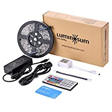 LUMINOSUM LED Strip Lights RGB Kit, 16.4ft 300LEDs SMD5050 Waterproof, with 44-key IR Controller and DC12V 5A Power Adapter and 1 Connector for Home Decor